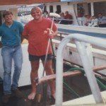 Skip Feller and John Porter working on the headboats in 1984
