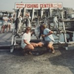 Rusty Harris and Cathy Weller with their catch on the Hustler in 1987