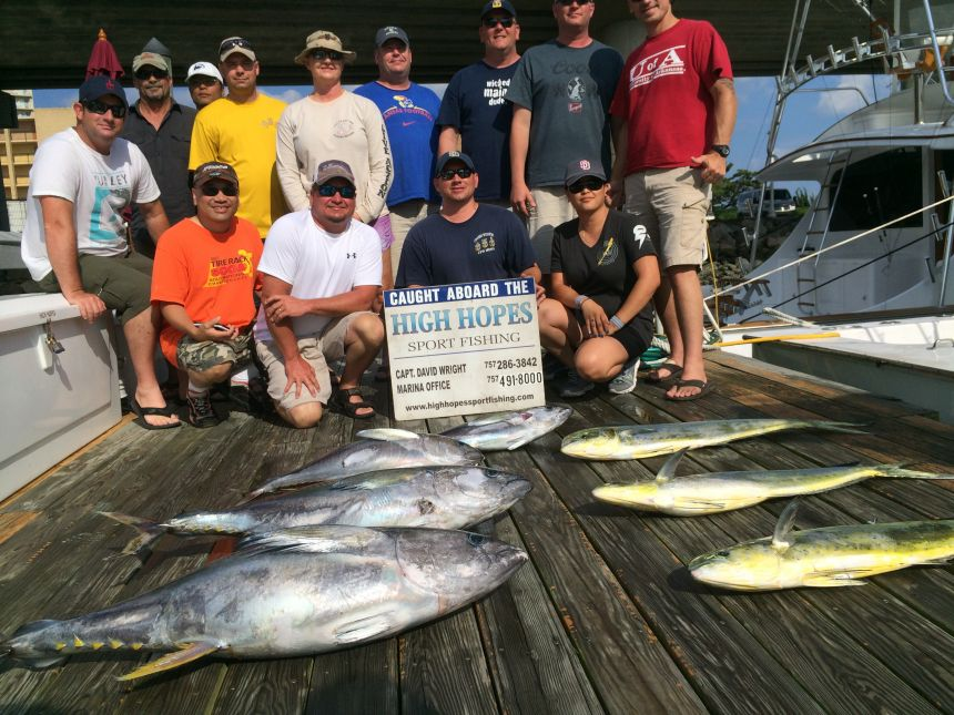 Tuna mahi covered docks virginia beach fishing center for Rudee inlet fishing report