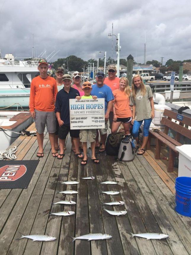 Spanish mackerel bluefish inshore billfish mahi for Head boat fishing virginia beach