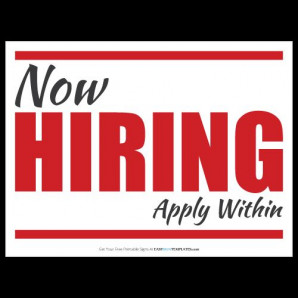 WE ARE NOW HIRING FOR THE SUMMER